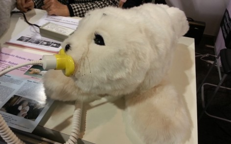 A therapy robot seal that responds to sound and touch.